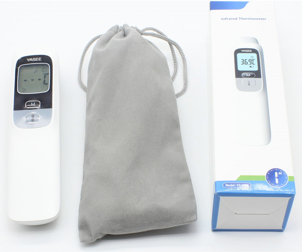 Box and contnets of digital forehead thermometer