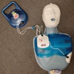 AED training pads on manikin